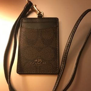 Coach leather ID lanyard